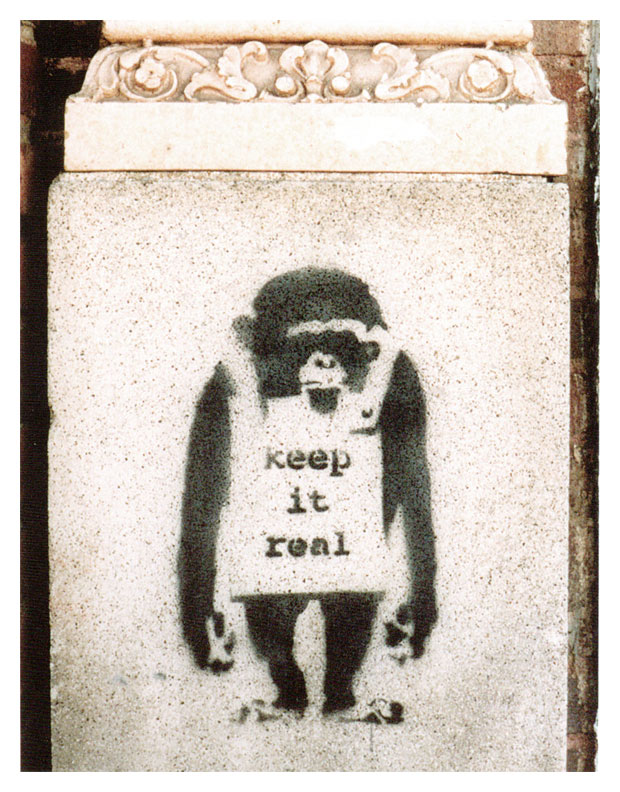 """Keep It Real"" monkey stencil by Banksy"